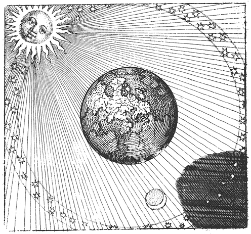 The Earth and its shadow floating in space. Engraving from Michael Maier's Atalanta Fugiens (1618).